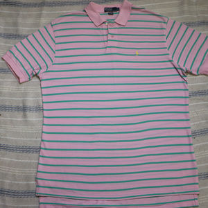 Polo by Ralph Lauren Shirts - Vintage Pink Green Striped POLO by Ralph Lauren